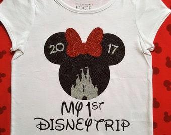 Disney Trip Shirts    My First Disney Family shirt   Minnie mouse shirt Disney family shirts baby girl clothes baby girl outfit girl outfit