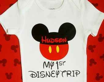 Disney Family Shirts   Mickey Mouse First Disney Trip Outfit boy toddler Disney shirts Mickey 1st Disney visit shirt boy Disney baby outfit