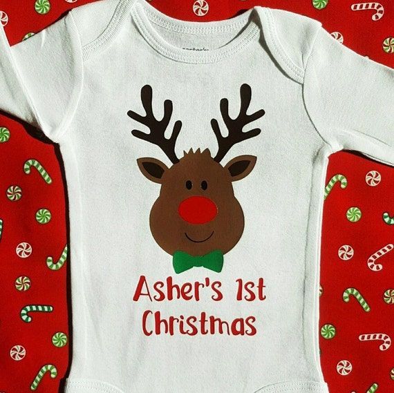 Christmas Outfits | My First Christmas Outfit for Boys, 1st Xmas Holiday  Bodysuit with Reindeer - Christmas Outfits My First Christmas Outfit For Boys 1st Etsy