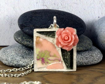 Pink Flower Ceramic Pendant, Mosaic Flower Pendant, Stone Flower Pendant, Mosaic Pendant Necklace, Mosaic Jewelry, Pretty Pendant, Gift