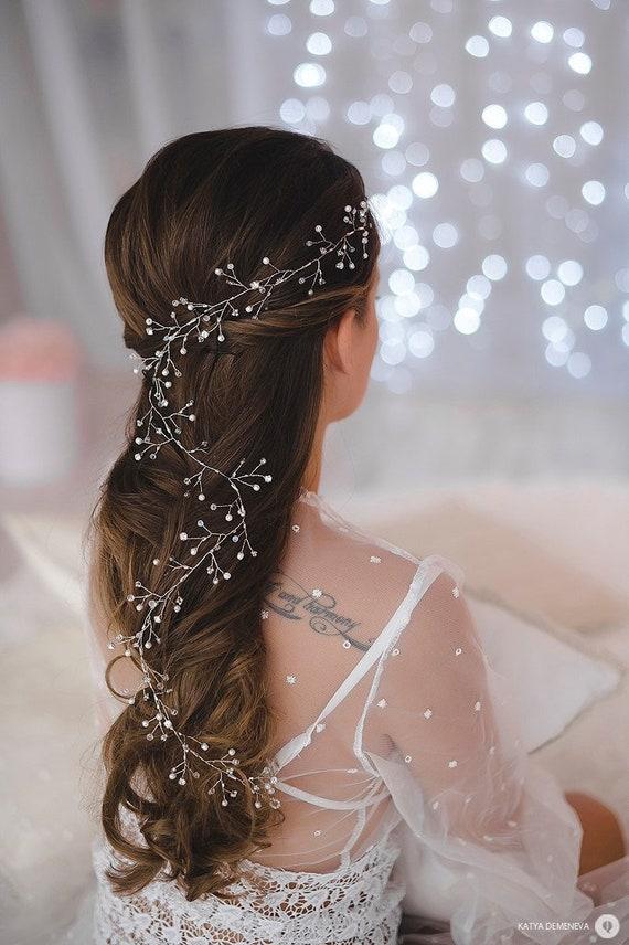 Bridal Pearl Crystal Wedding hair vine Bridal headpiece Crystal Halo Bohemian Wreath Silver Veil Accessory Hair Adornments Boho hair piece