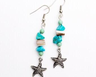 STARFISH EARRINGS, Beach Earrings, Seaside Jewelry, Summer Wear, Starfish Jewelry, Marine Jewelry, Ocean Jewelry, Seashell Earrings