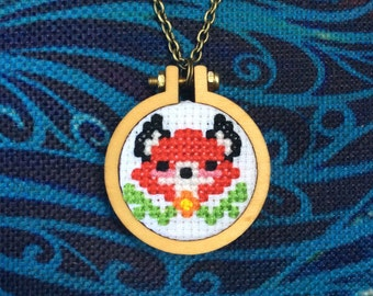 Red Fox Cross Stitch Necklace