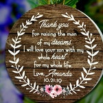Thank you For Raising The Man of My Dreams Christmas Ornament, Mother of The Groom, Mother In Law Ornament, Wedding Gift, Wood Ornament Gift