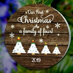 Family of 4 Ornament, Family of Four Ornament, Family With Kids Ornament, Family Christmas Tree Ornament, Customizable Wood Ornament Magnet