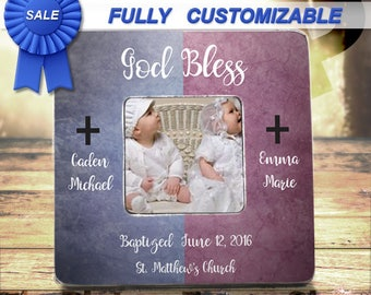 Twin Baptism Gift Twin Girls Baptism Twin Boy Baptism Twin Baptism Frame Twin Christening Frame Twin Baby Gift Custom Picture Frame Gift