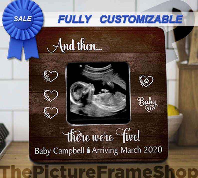 And Then There Were 3 Three Pregnancy Announcement FrameBirth image 0