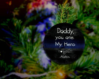 Police Ornament Customized Police Dad Gifts Police Daddy Police Daughter Police Son Gift To Dad From Daughter Son Kids Daddy Ornament Gift