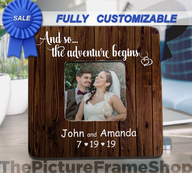 The Adventure Begins Wedding Gifts For Couple Personalized image 0