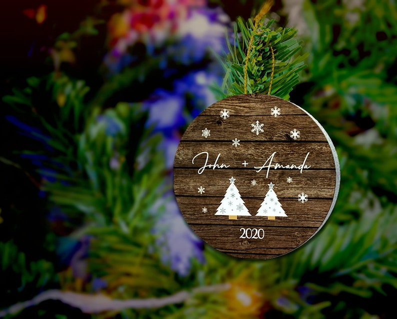 Personalized Couple Name Wood Christmas Ornament Christmas image 0