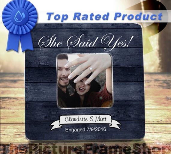 He Asked She Said Yes Frame Engagement Frame Bride To Be Gift Etsy