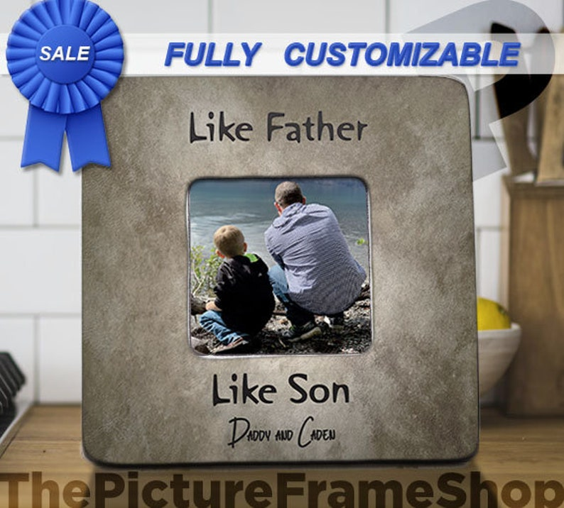 Dad Gift From Son Personalized Picture Frame Like Father Like image 0