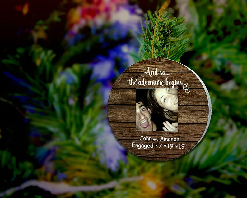 Personalized Engagement Ornament for CoupleCustom Wood Name image 0