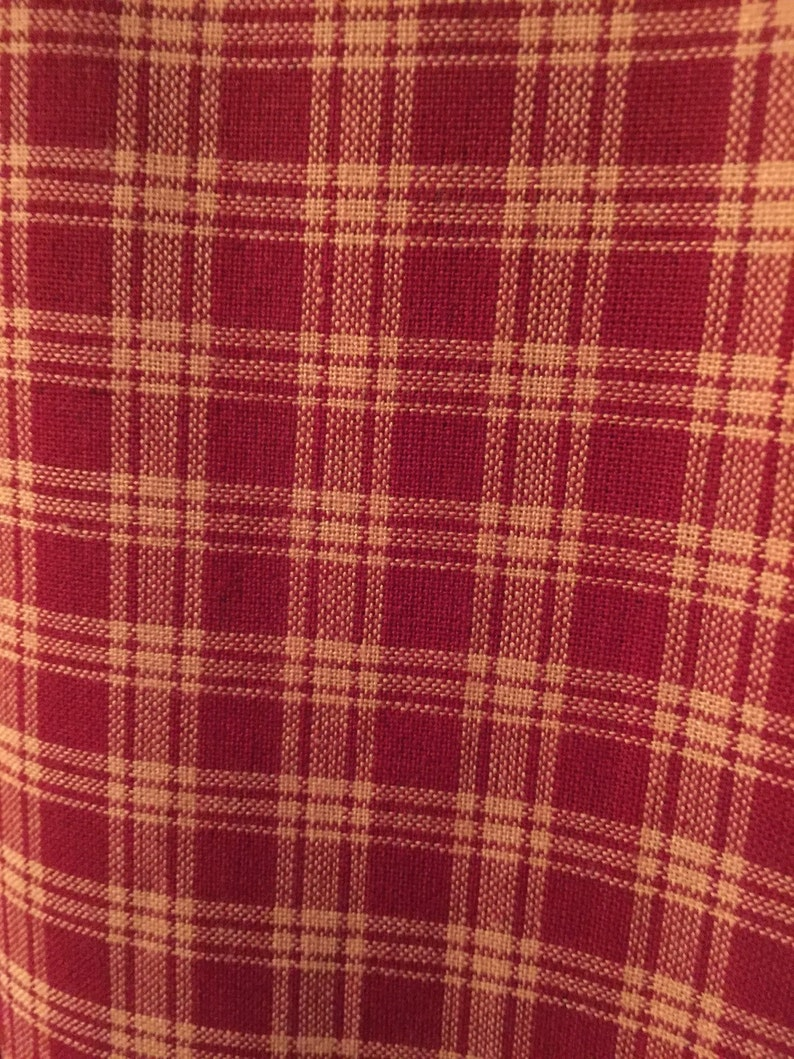 CranberryTan Check Valance w Teastain Border and Primitive Check Stars-With or Without Matching Straight
