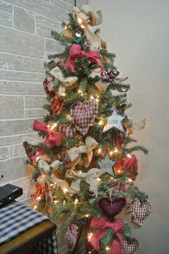 Primitive Christmas Tree.4ft Primitive Christmas Tree With 45 Ornaments And Bows Lights And A Topper