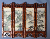 Fine old chinese porcelain hand painted inset table screen in bamboo 4 panels DSC_00902