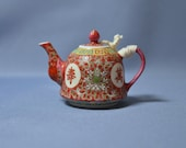 Fine and rare old Chinese famille rose red teapot quot Wan shou Wu Jiang - 万寿无疆 quot DSC_00867