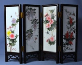 Old Chinese Porcelain Hand Painted Inset Table Screen in Rosewood Panels - DSC_00689