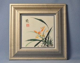 Antique Chinese Water Color Painting Flower Orchid DSC_00393