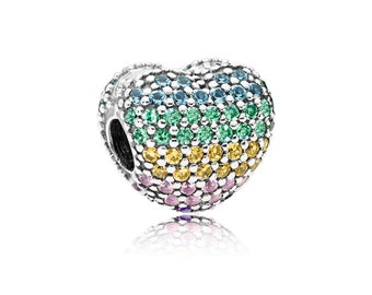 a6f1838a0 New Authentic Pandora Charm Bead Open My Heart Multi-Colored 797221NRPMX