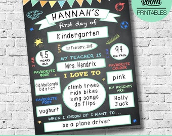 first day of school sign template reusable first day of chalkboard back to school sign first day of kindergarten first day printable