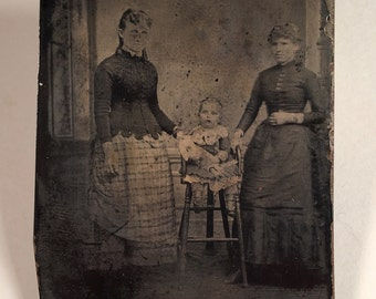 Tintype of Ladies with Their Little Girl and Her Doll, 19th Century Antique Photo, Tintype Photograph