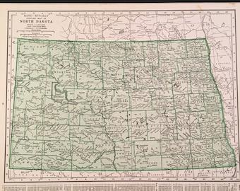 North dakota map | Etsy