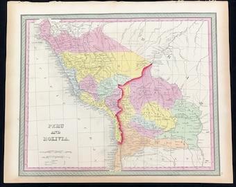 Mapa Antiguo Original De Peru Y Bolivia Por Alex Findlay Etsy