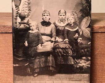 Tintype of Two Women and their Creepy Kids, 19th Century Photograph, Antique Tintype Photo