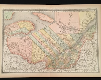 Large map quebec etsy 1887 antique map of quebec original 19th century map by rand mcnally antique map of canada for framing gumiabroncs Images
