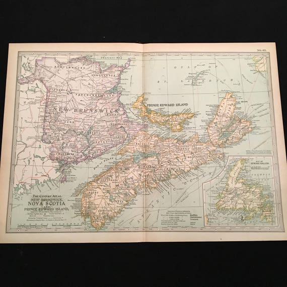 Antique Map of Nova Scotia New Brunswick & Prince Edward | Etsy