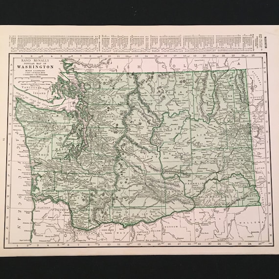 1937 Vintage Rand McNally Map of Washington State and Virginia, Original on brown maps, white maps, united states maps, motorcycle road maps,