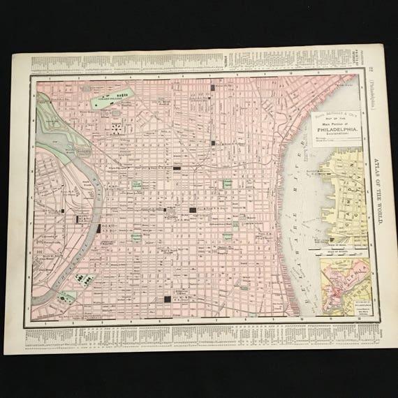 1898 Vintage Map of Philadelphia Original Antique Atlas Map   Etsy