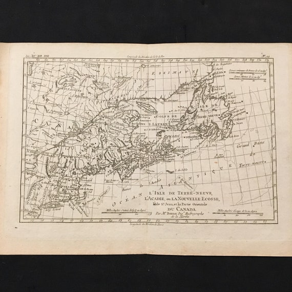 1780 Map of Nova Scotia New Brunswick and Newfoundland | Etsy