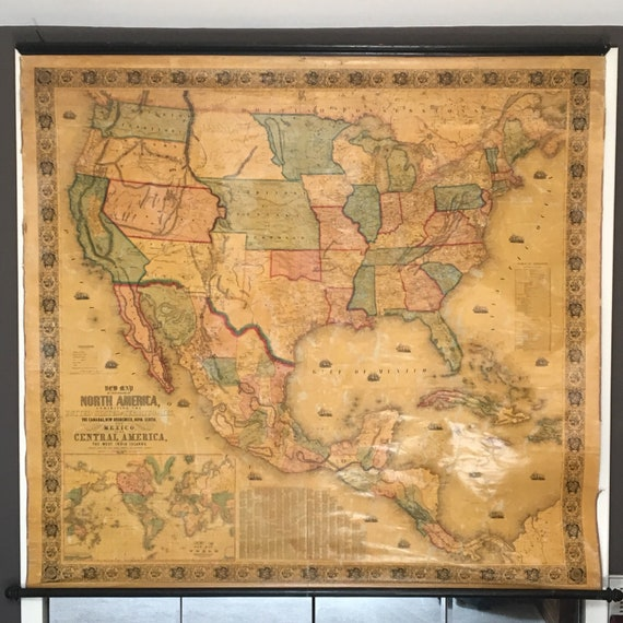 1853 Antique Wall Map of the United States and Mexico, Rare Hand Colored on us map cincinnati, us map louisiana, us map treaty of paris, us map michigan, us map nevada, us map oregon, us map albuquerque, us map california, us map oklahoma, us map montana, us map wisconsin, us map transcontinental railroad, us map buffalo, us map wyoming, us map mississippi, us map mexico, us map united states, us map lewis and clark expedition, us map alabama, us map erie canal,