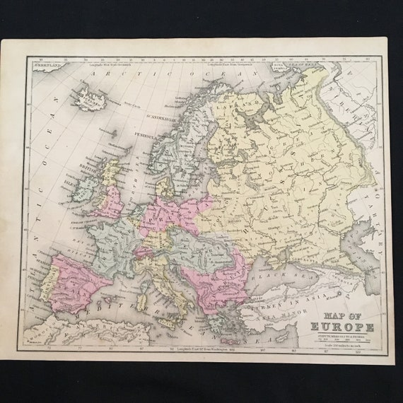 1867 Map of Europe Original Hand Colored Map Vintage Map for   Etsy