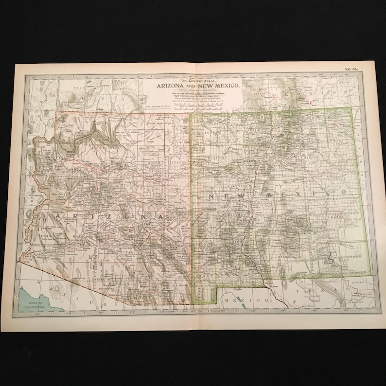 Map Of Arizona Listing Cities.Antique Map Of Arizona And New Mexico 1902 Century Atlas Map Large Vintage Map For Framing