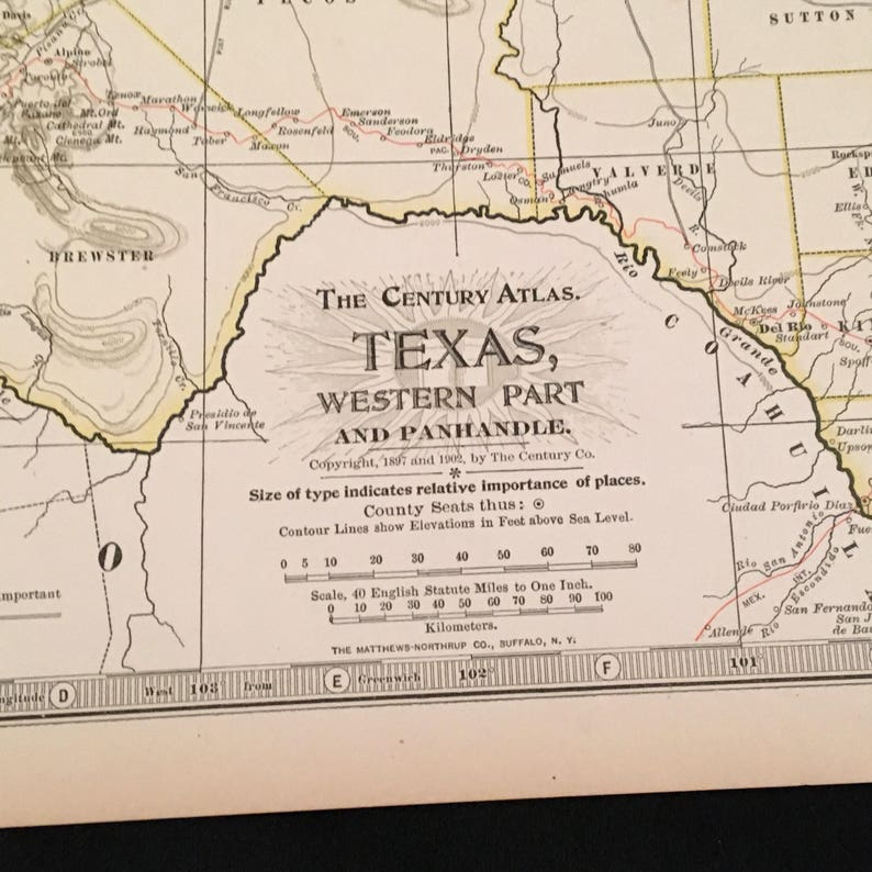 Map Of Western Texas.Antique Map Of Western Texas 1902 Century Atlas Map Large Vintage Map For Framing