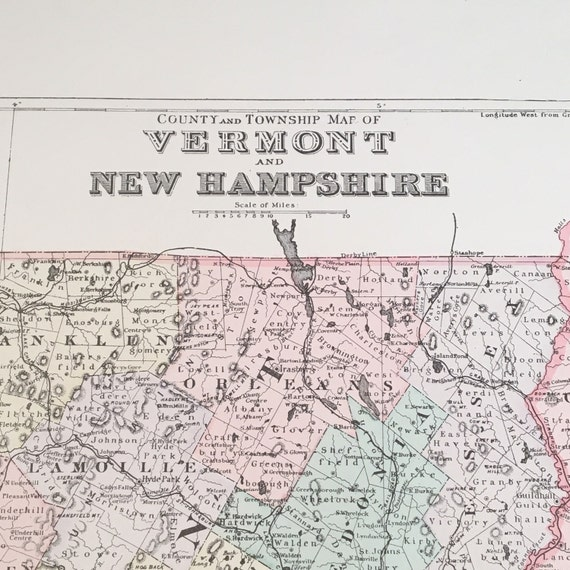 1894 County Map of New Hampshire & Vermont, Original Hand-Colored Map,  Large Antique Map
