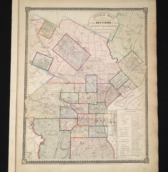 Rare 1862 Map of Philadelphia Original Antique Map Large | Etsy