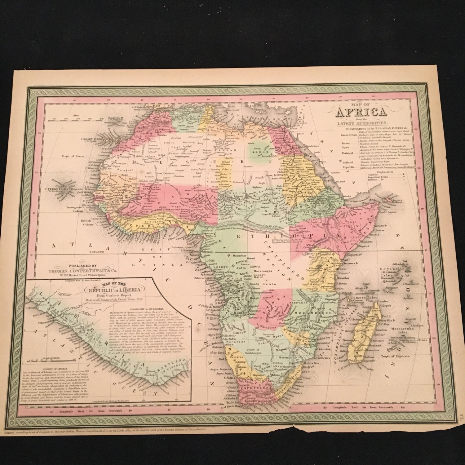 Map Of Africa 1850.1850 Antique Africa Map Original 19th Century Hand Colored Etsy