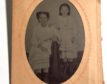 Cute Tintype of Sisters in Matching Dresses, 19th Century Antique Photo in Original Paper Frame Sleeve