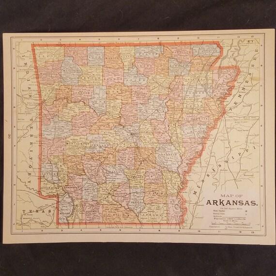 Arkansas And Louisiana Map.1895 Map Of Arkansas Louisiana Original Antique Double Etsy