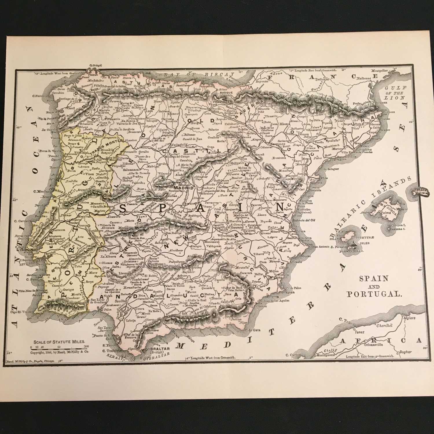 Map Of Spain To Color.1890 Map Of Spain And Portugal Original Antique Color Map By Etsy