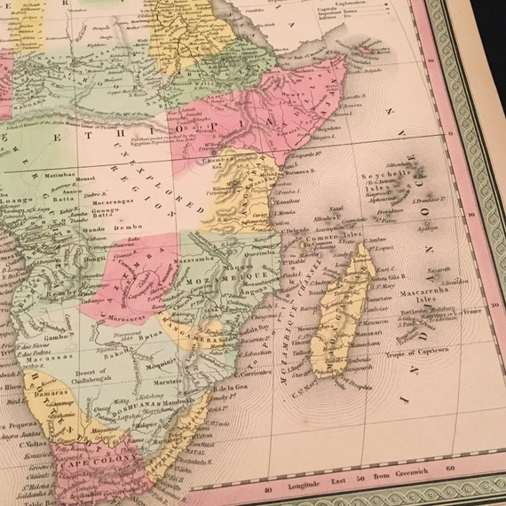 19th Century Africa Map.1850 Antique Africa Map Original 19th Century Hand Colored Etsy
