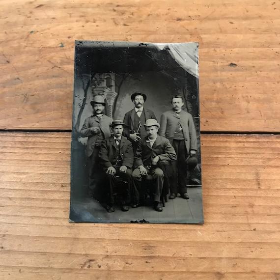 Tintype of a Stylish Crew of Men, 19th Century Antique Photograph