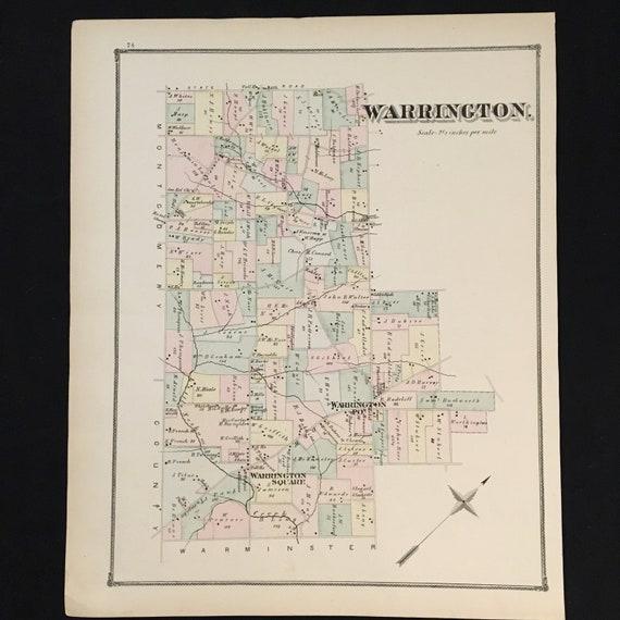 1876 Map of Warrington Township Bucks County Pennsylvania | Etsy