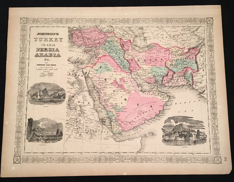 1865 Map of Turkey Persia and Arabia, Original Antique Map, Hand-Colored  Map by Johnson & Ward