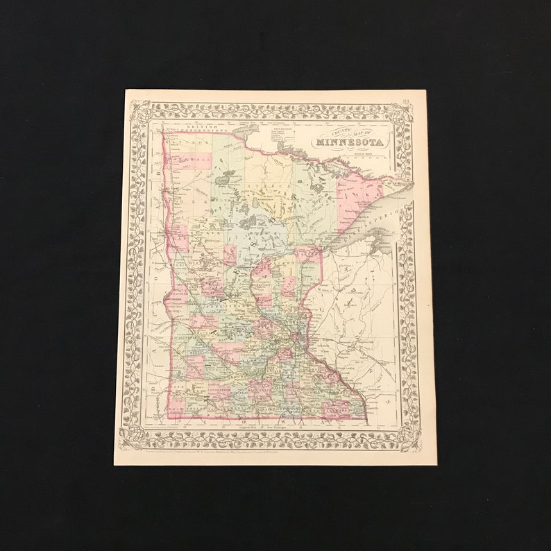1883 Map of Minnesota Original Hand Colored Antique Map