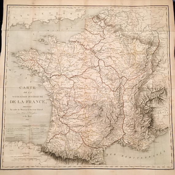 Rare 1820 Xl Map Of France Physical And Topographical Map Of Etsy